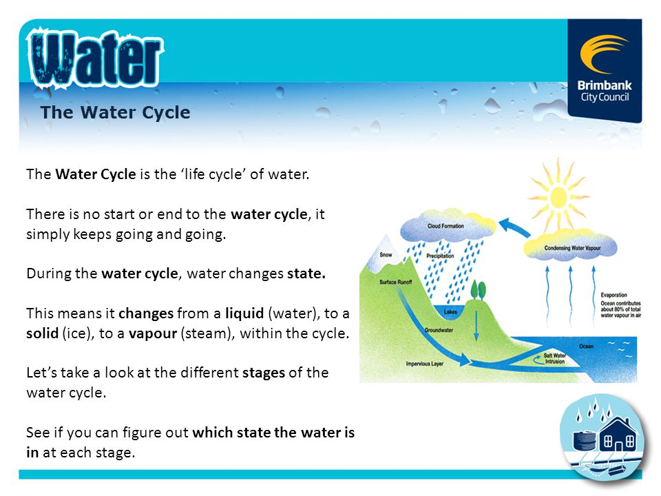 The Water Cycle is the 'life cycle' of water.
