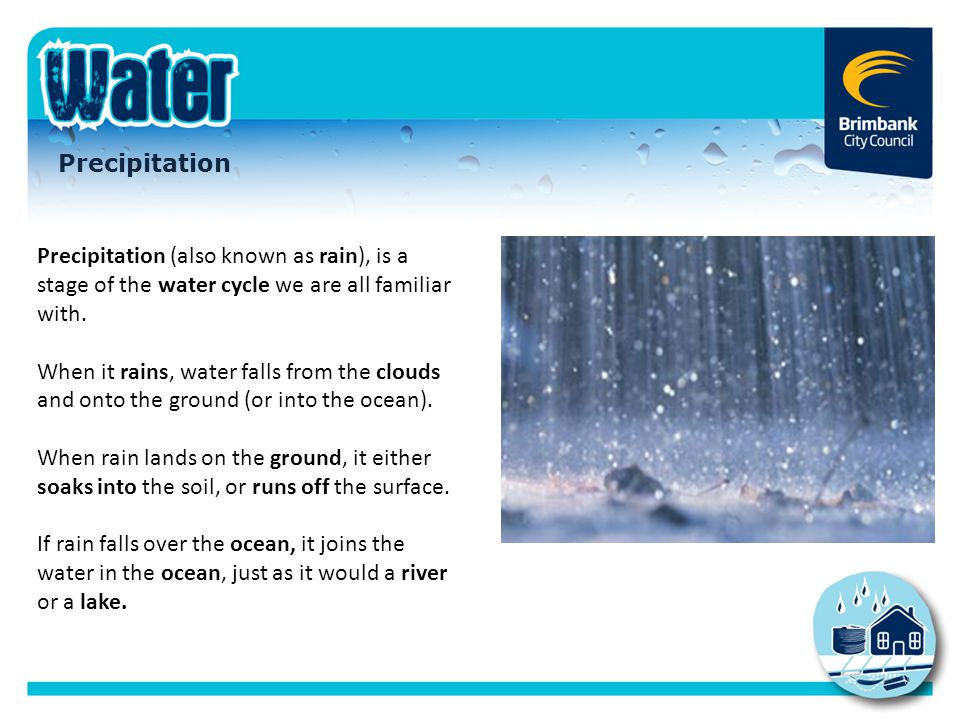 Precipitation Precipitation (also known as rain), is a stage of the water cycle we are all familiar with.
