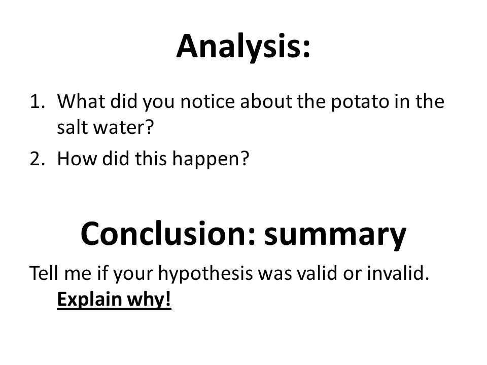 Analysis: Conclusion: summary