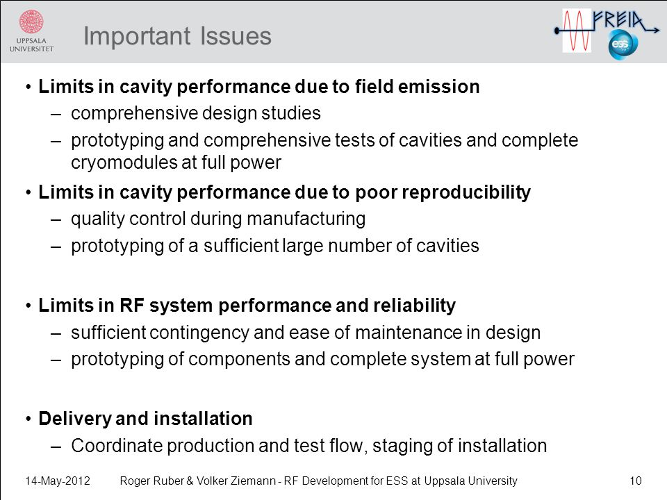 Important Issues Limits in cavity performance due to field emission