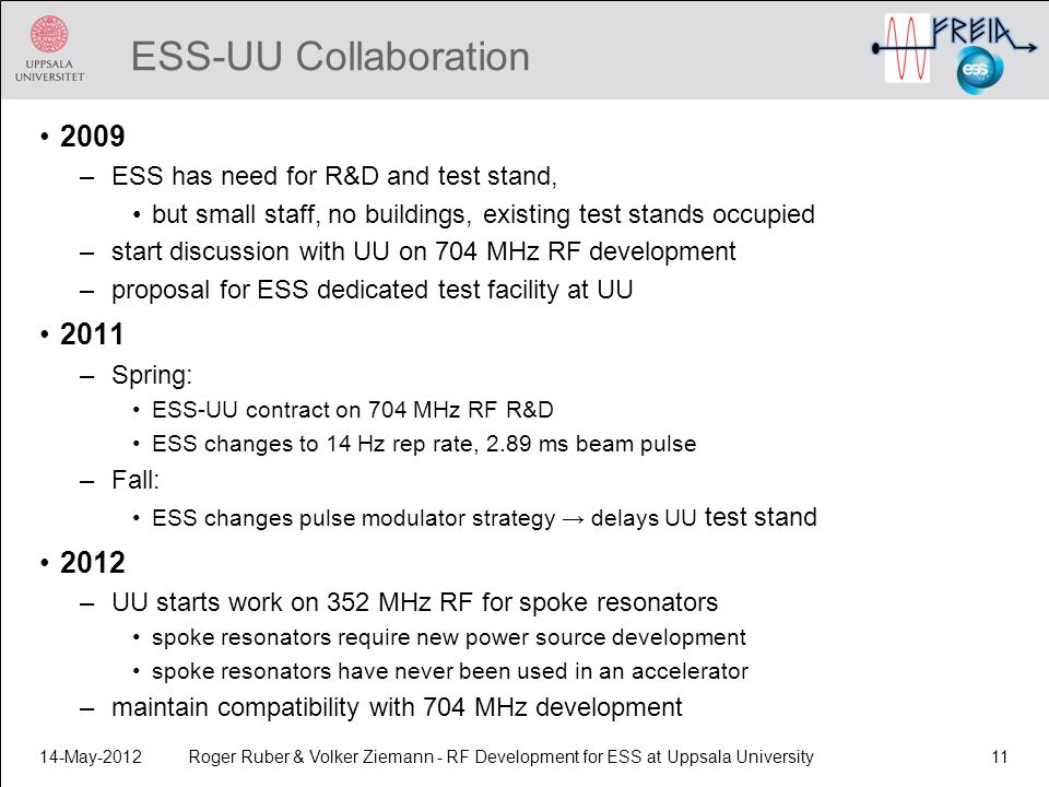 ESS-UU Collaboration 2009. ESS has need for R&D and test stand, but small staff, no buildings, existing test stands occupied.