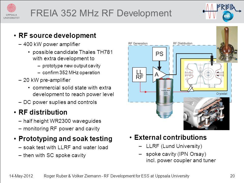 FREIA 352 MHz RF Development