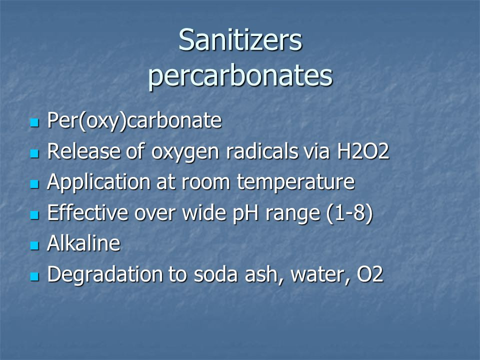Sanitizers percarbonates