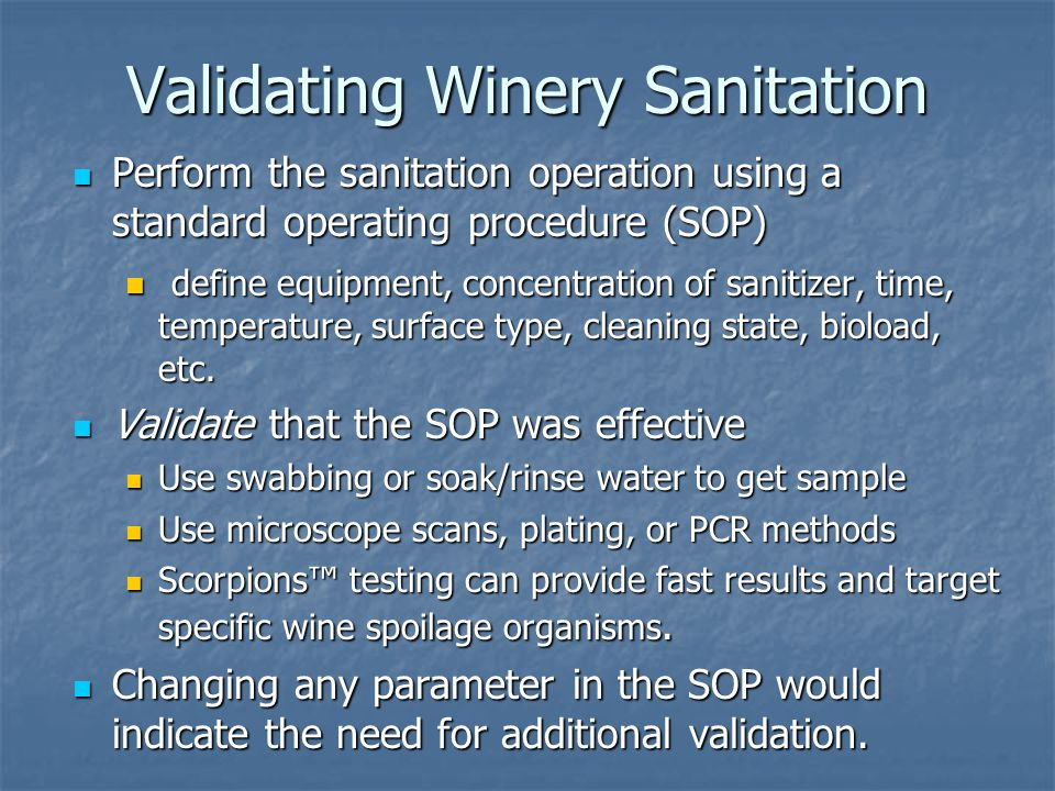 Validating Winery Sanitation