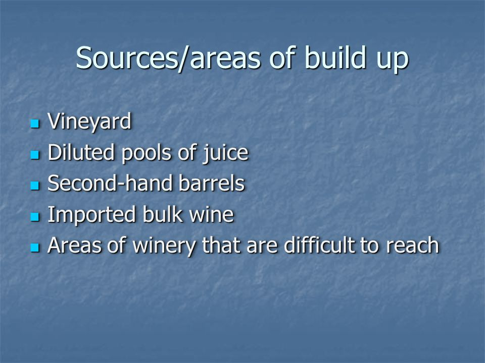 Sources/areas of build up