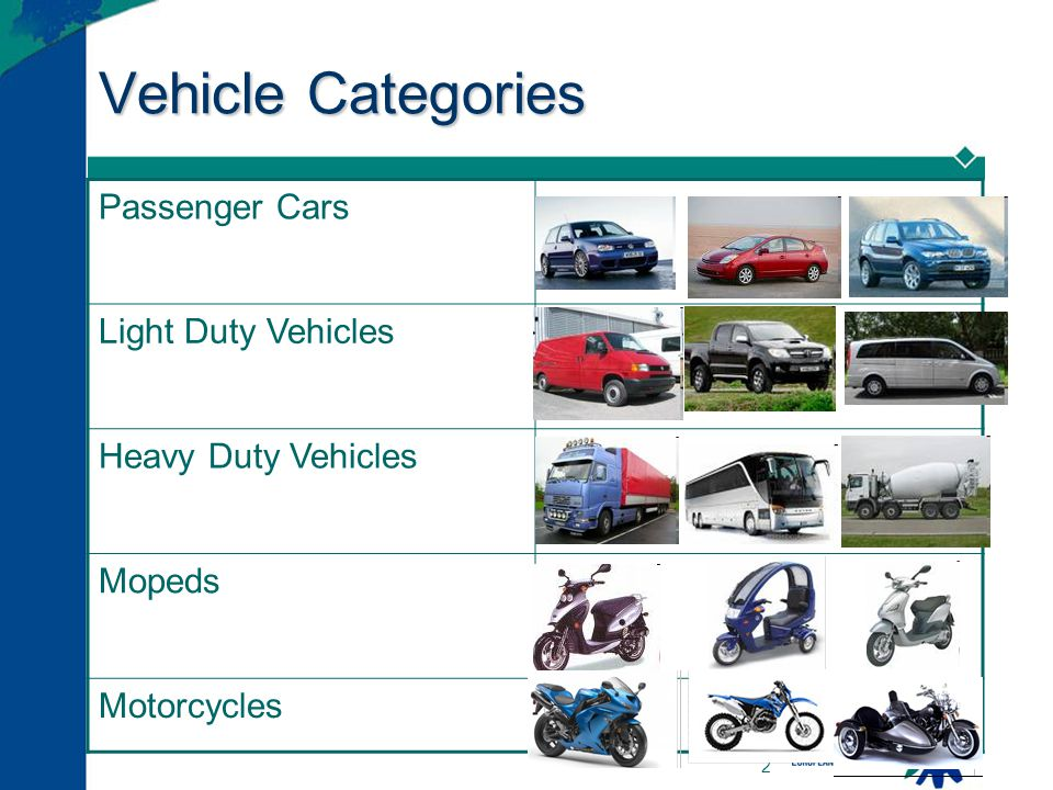 Vehicle Categories Passenger Cars Light Duty Vehicles