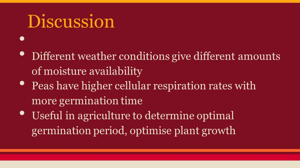 Discussion Different weather conditions give different amounts of moisture availability.