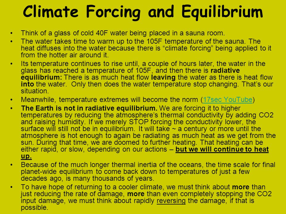 Climate Forcing and Equilibrium