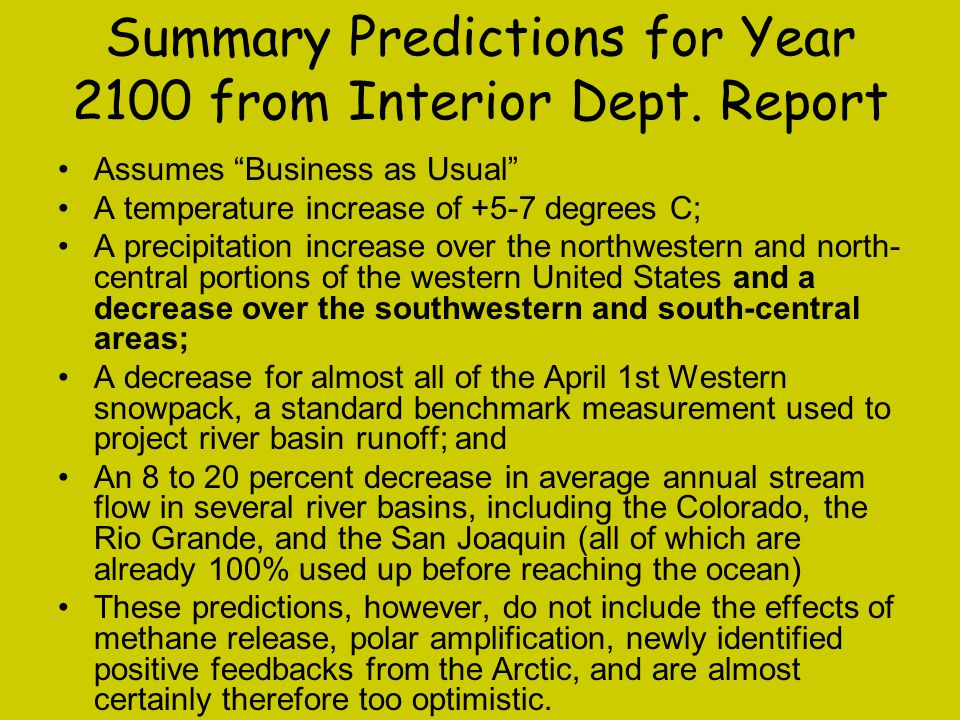 Summary Predictions for Year 2100 from Interior Dept. Report