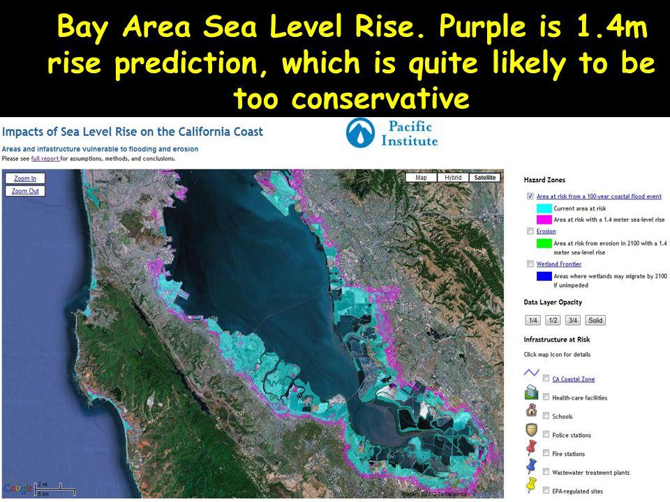 Bay Area Sea Level Rise. Purple is 1