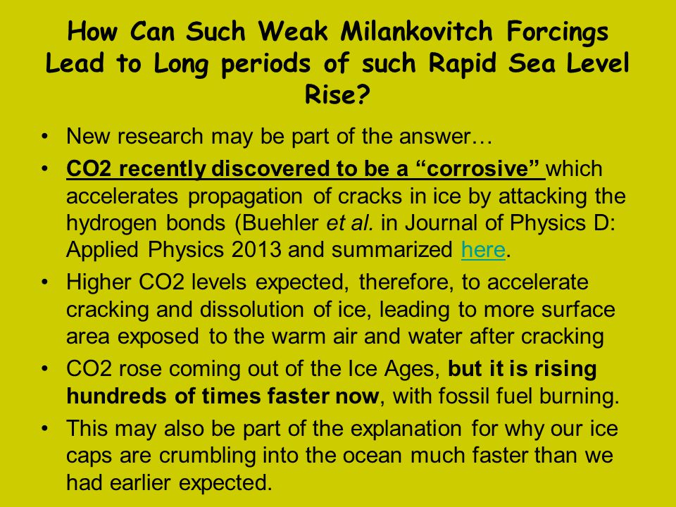 How Can Such Weak Milankovitch Forcings Lead to Long periods of such Rapid Sea Level Rise