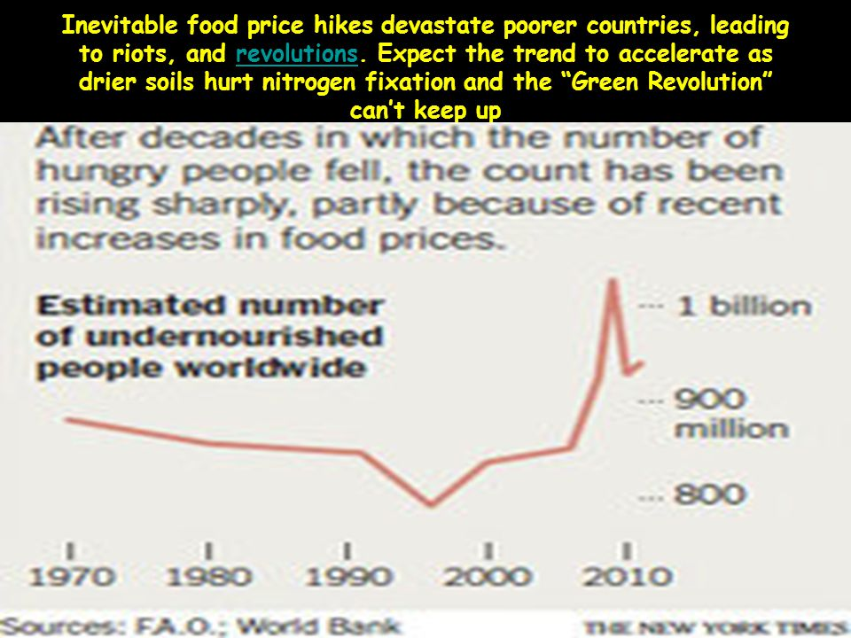Inevitable food price hikes devastate poorer countries, leading to riots, and revolutions.