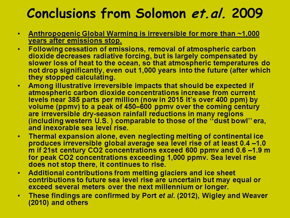 Conclusions from Solomon et.al. 2009