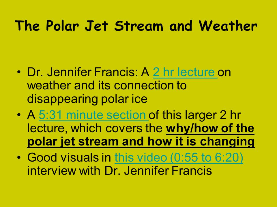 The Polar Jet Stream and Weather