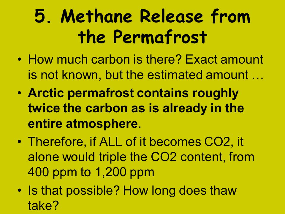5. Methane Release from the Permafrost