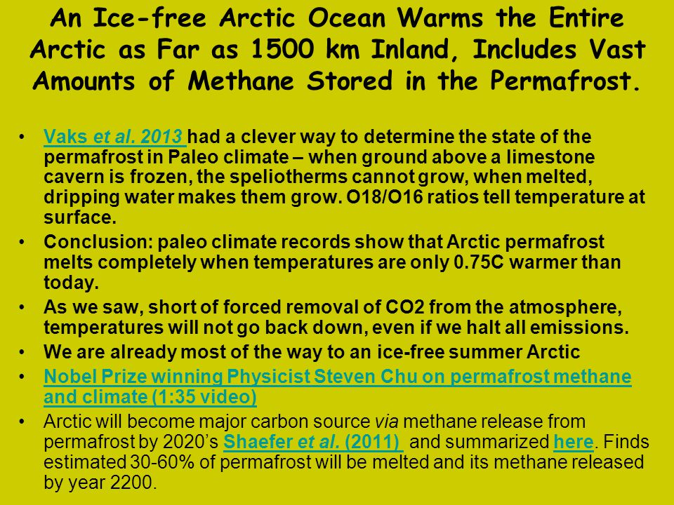 An Ice-free Arctic Ocean Warms the Entire Arctic as Far as 1500 km Inland, Includes Vast Amounts of Methane Stored in the Permafrost.
