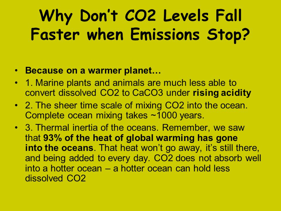 Why Don't CO2 Levels Fall Faster when Emissions Stop