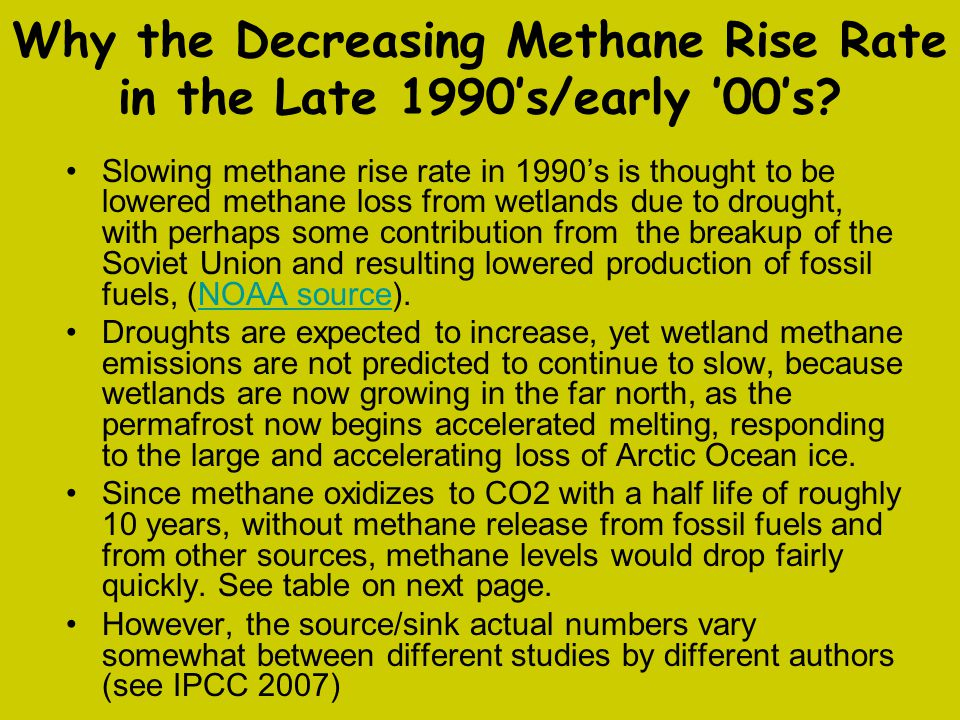 Why the Decreasing Methane Rise Rate in the Late 1990's/early '00's