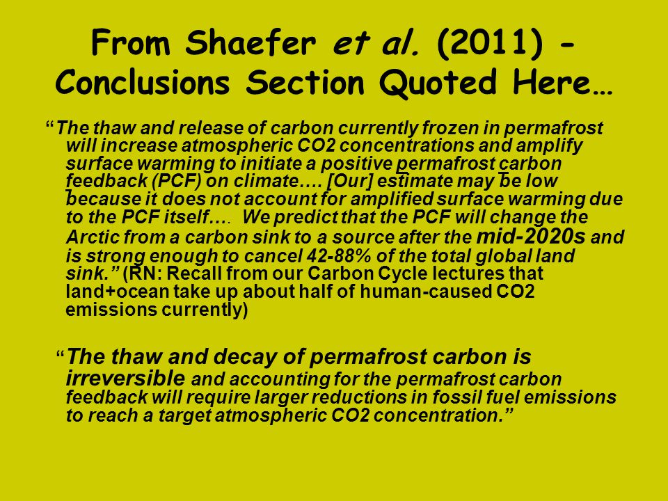 From Shaefer et al. (2011) - Conclusions Section Quoted Here…