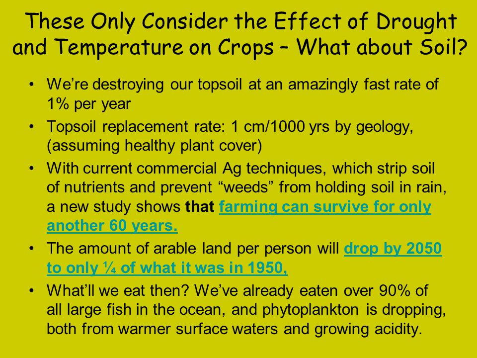 These Only Consider the Effect of Drought and Temperature on Crops – What about Soil