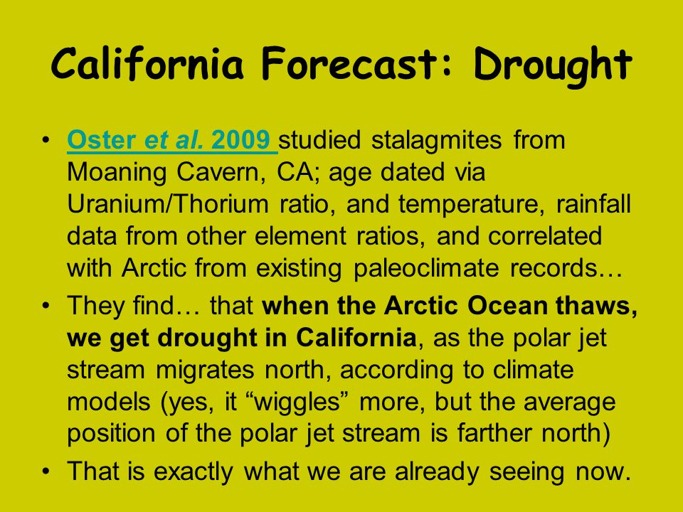 California Forecast: Drought