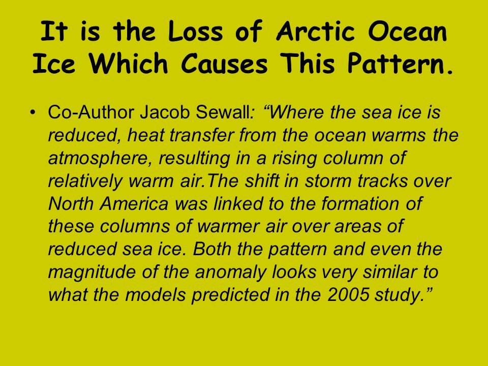 It is the Loss of Arctic Ocean Ice Which Causes This Pattern.
