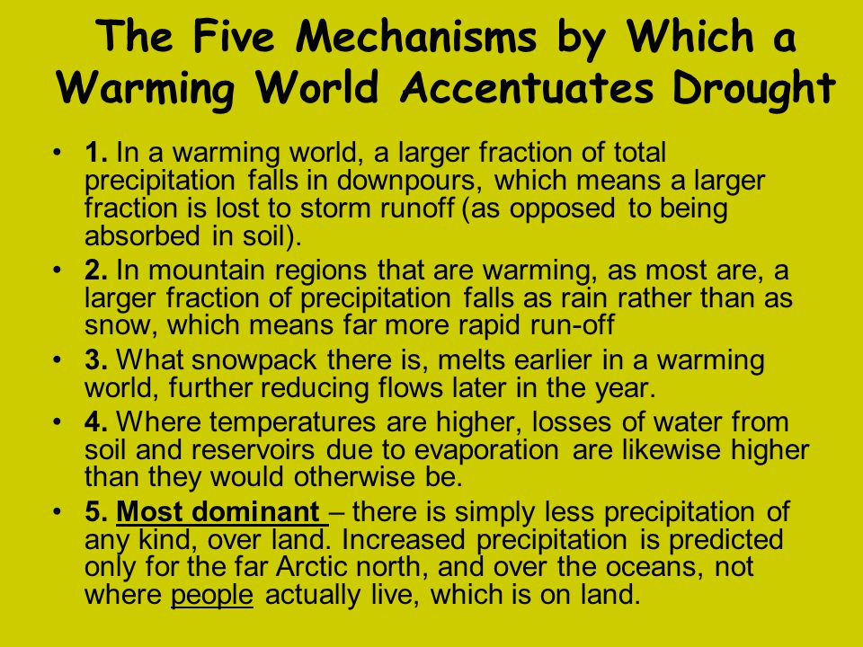 The Five Mechanisms by Which a Warming World Accentuates Drought