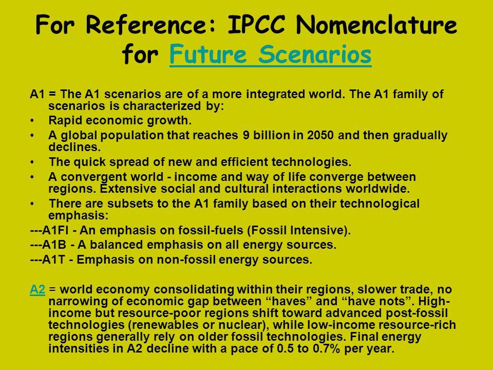 For Reference: IPCC Nomenclature for Future Scenarios