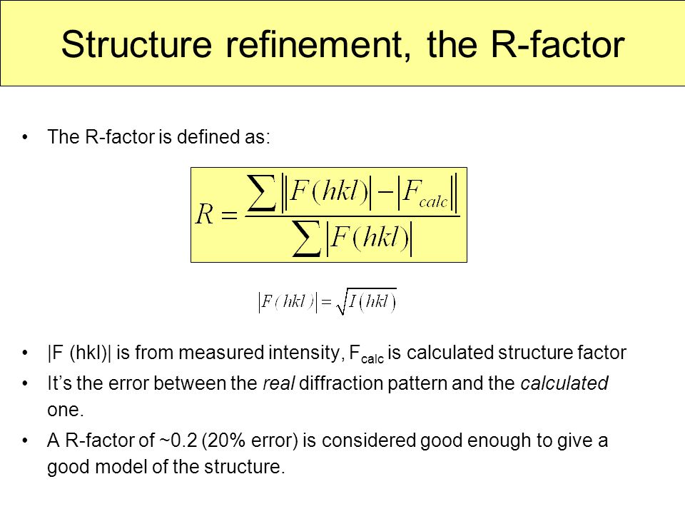 Structure refinement, the R-factor