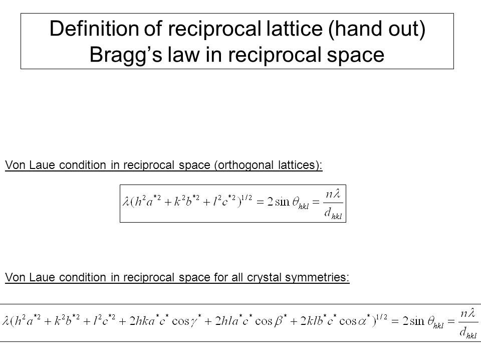 Definition of reciprocal lattice (hand out) Bragg's law in reciprocal space