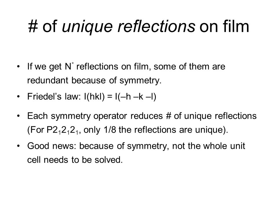 # of unique reflections on film