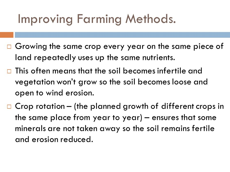 Improving Farming Methods.