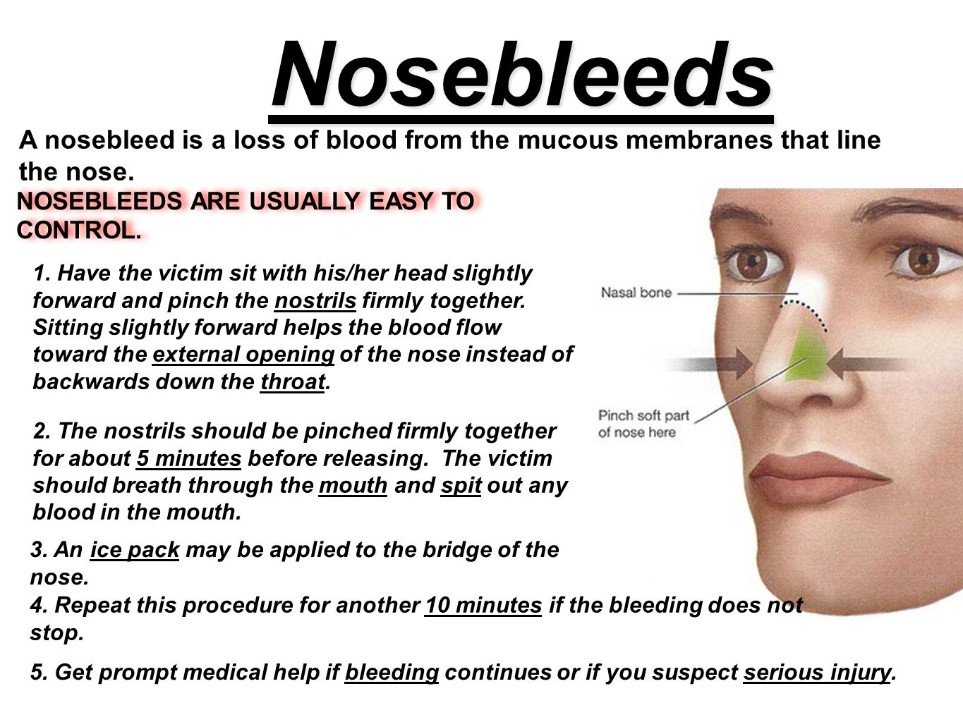 Nosebleeds A nosebleed is a loss of blood from the mucous membranes that line the nose. NOSEBLEEDS ARE USUALLY EASY TO CONTROL.