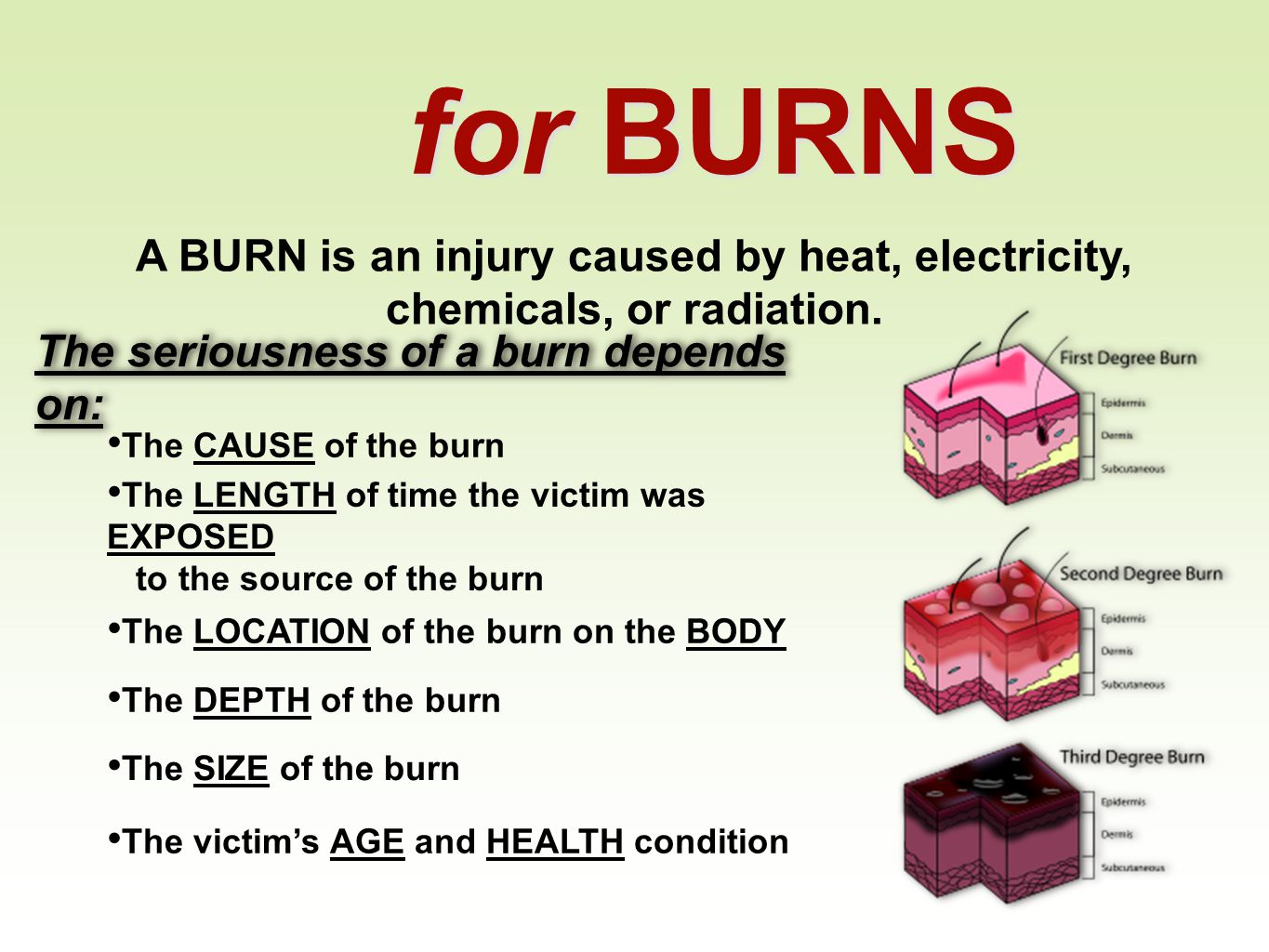 for BURNS A BURN is an injury caused by heat, electricity, chemicals, or radiation. The seriousness of a burn depends on:
