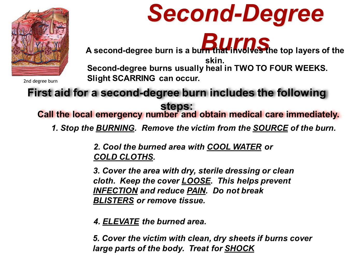 First aid for a second-degree burn includes the following steps: