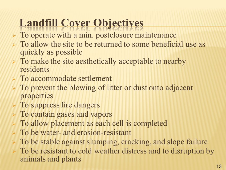 Landfill Cover Objectives
