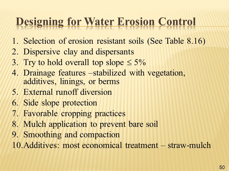 Designing for Water Erosion Control