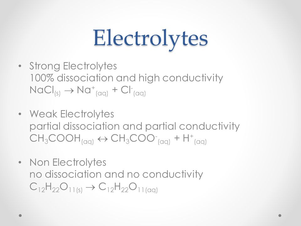 Electrolytes Strong Electrolytes