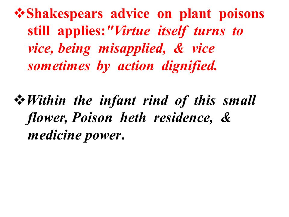 Shakespears advice on plant poisons