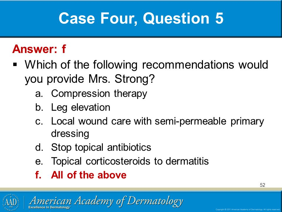 Case Four, Question 5 Answer: f
