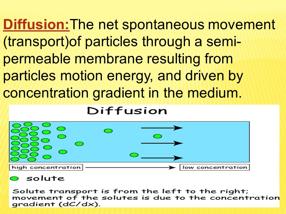 Diffusion:The net spontaneous movement (transport)of particles through a semi-permeable membrane resulting from particles motion energy, and driven by concentration gradient in the medium.