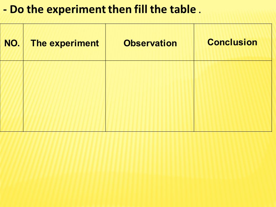 - Do the experiment then fill the table .