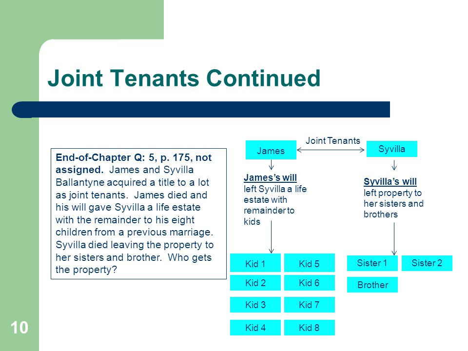 Joint Tenants Continued