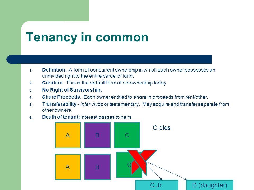 Tenancy in common A B C C dies C A B C Jr. D (daughter)