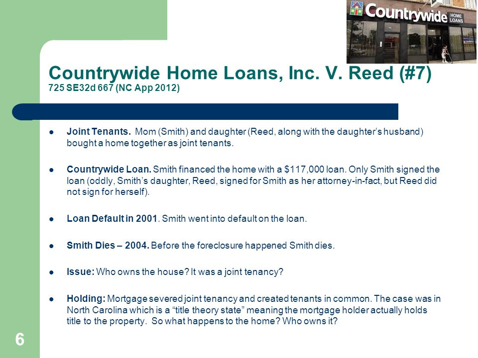 Countrywide Home Loans, Inc. V. Reed (#7) 725 SE32d 667 (NC App 2012)
