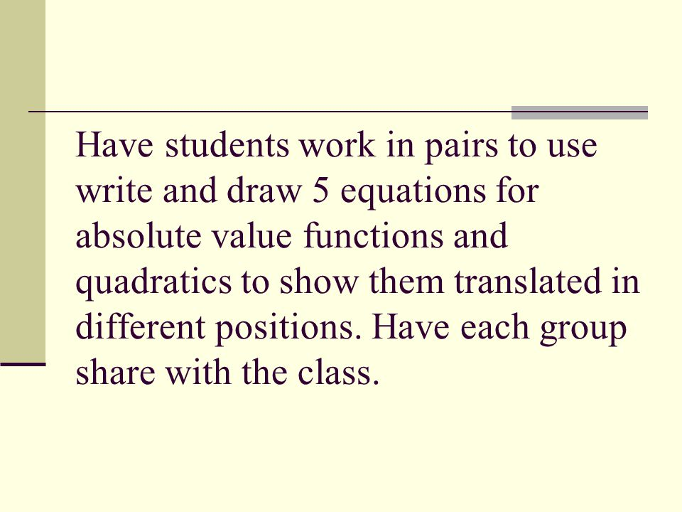 Have students work in pairs to use write and draw 5 equations for absolute value functions and quadratics to show them translated in different positions.