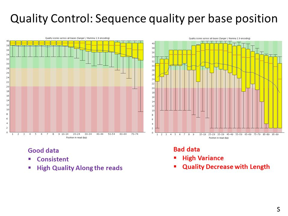 Quality Control: Sequence quality per base position