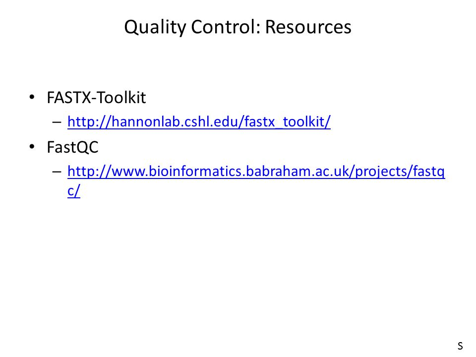 Quality Control: Resources