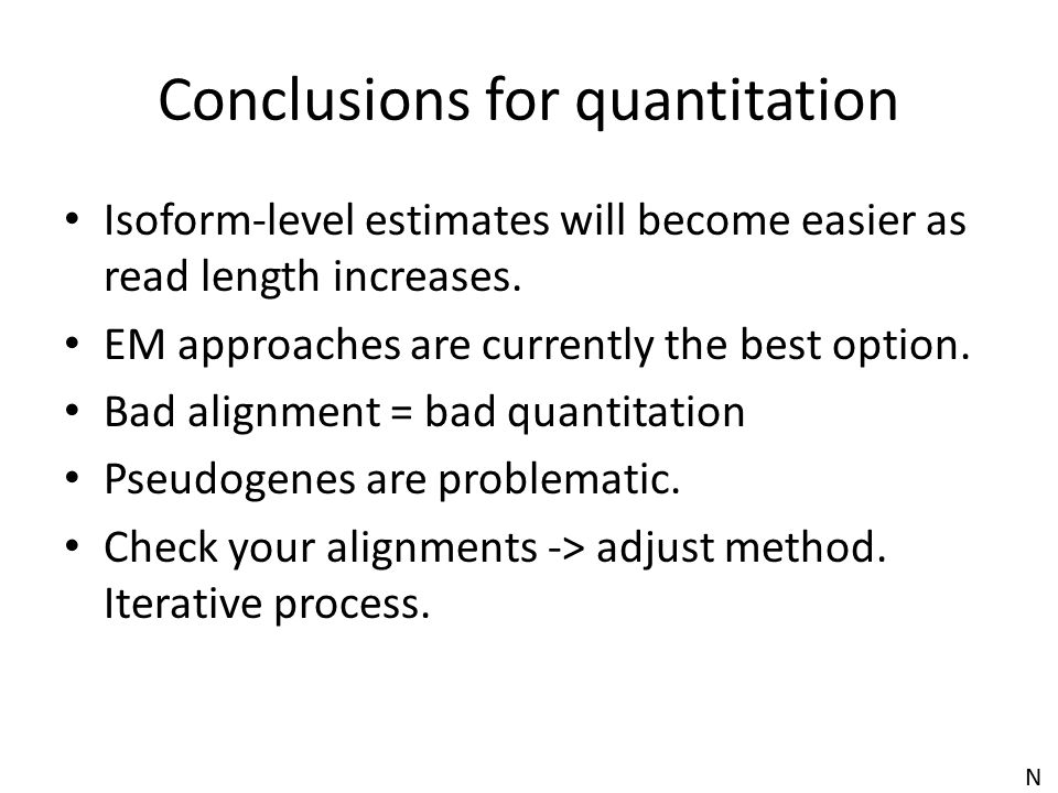 Conclusions for quantitation