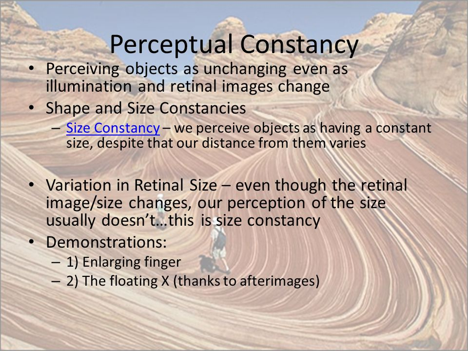 Perceptual Constancy Perceiving objects as unchanging even as illumination and retinal images change.